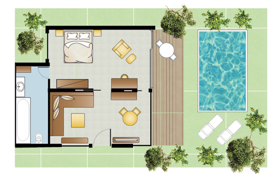 Honeymoon Villa Private Pool floorplan