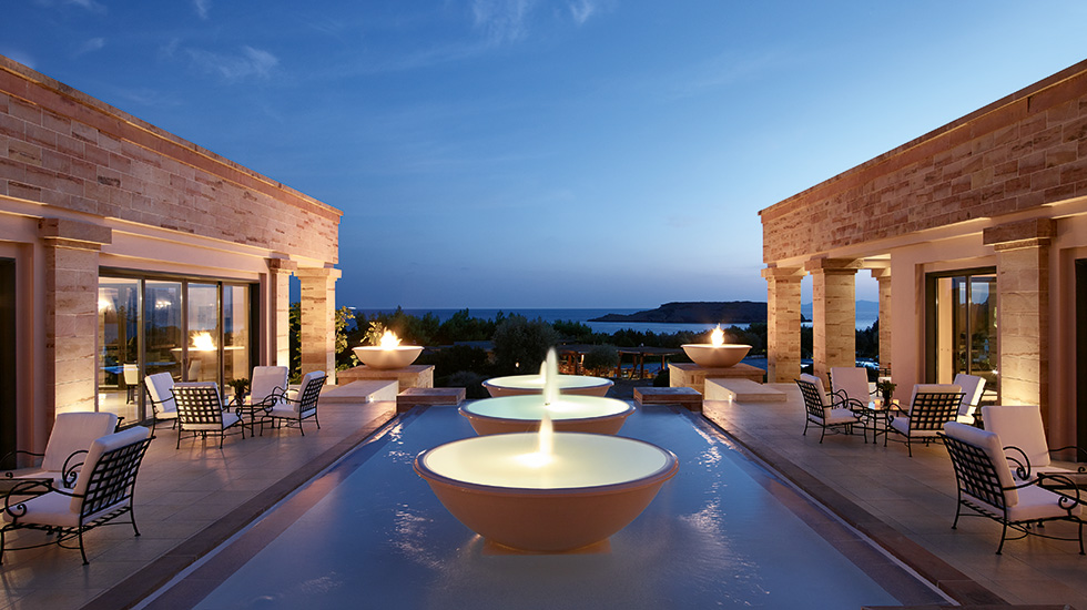 fire fountains with views to the temple of poseidon at cape sounio resort